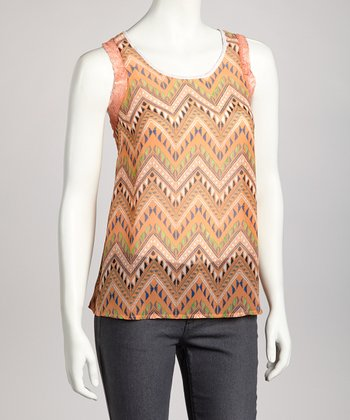 Peach Tribal Sleeveless Top
