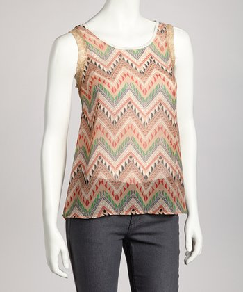 Taupe Tribal Sleeveless Top