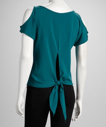 Teal Cutout Top