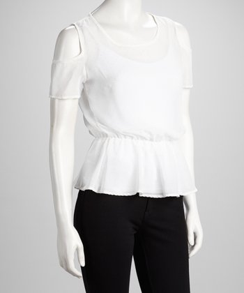 White Sheer Cutout Peplum Top