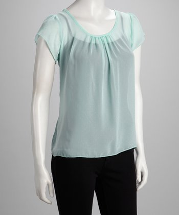 Mint Flutter-Sleeve Top