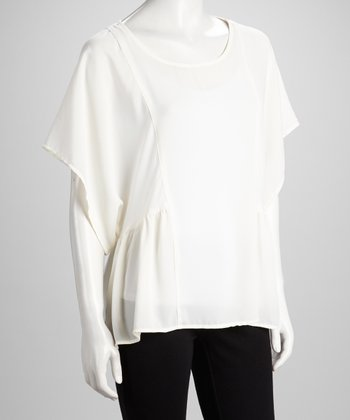 White Cape-Sleeve Top