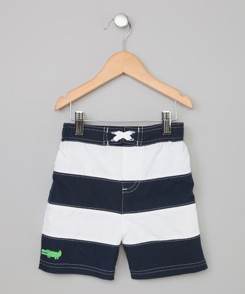 Navy Stripe Alligator Swim Trunks - Toddler & Boys