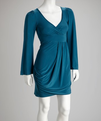 Teal Long-Sleeve Surplice Dress