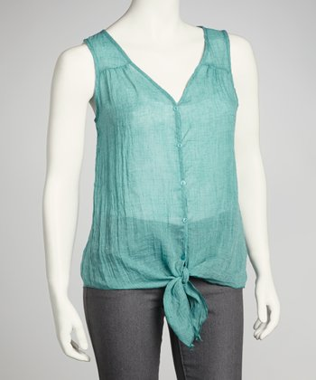 Green Sheer Front-Tie Top