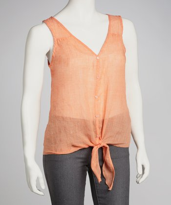 Orange Sheer Front-Tie Top