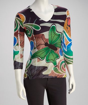 Brown & Green Butterfly Crystal Three-Quarter Sleeve Top