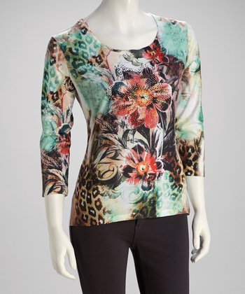 Green & Red Leopard Crystal Three-Quarter Sleeve Top