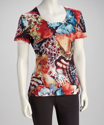 Blue & Orange Floral Crystal-Embellished Top