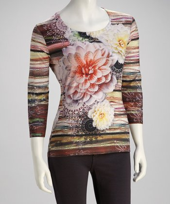 Pink & Yellow Floral Crystal Three-Quarter Sleeve Top