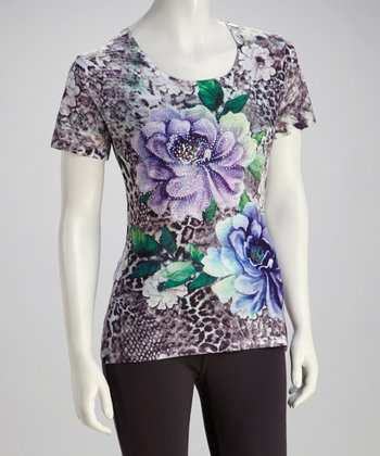 Purple & Blue Floral Crystal-Embellished Top