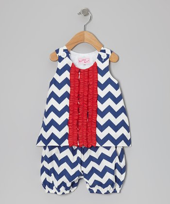 Navy Blue Zigzag Tank & Bloomers - Infant