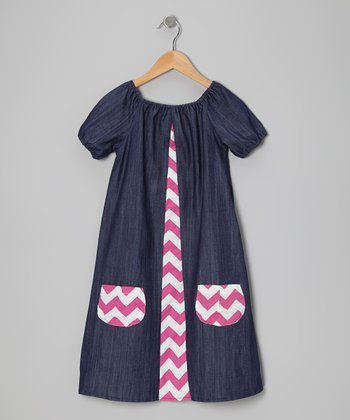 Denim & Pink Zigzag Dress - Infant & Toddler