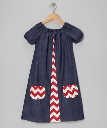 Denim & Red Zigzag Dress - Infant & Toddler