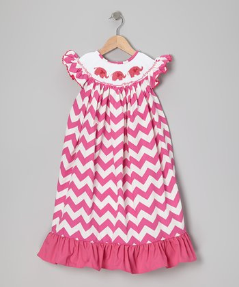 Pink Zigzag Elephant in the Room Dress - Infant & Toddler