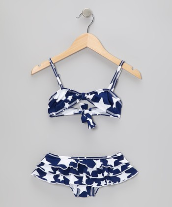Navy & White Star Ruffle Skirted Bikini - Toddler & Girls