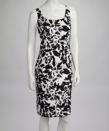 Black & White Abstract Drape Dress