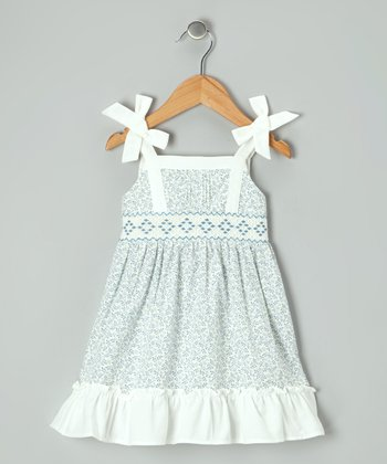 Off-White & Blue Floral Smocked Dress - Infant & Toddler