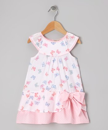 Pink & Blue Butterfly Yoke Dress - Infant & Toddler