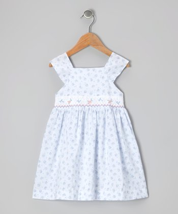 Light Blue Floral Smocked Dress - Infant & Toddler