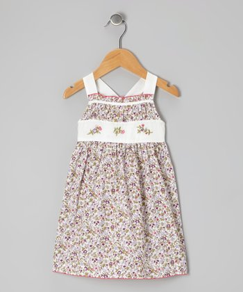 Off-White & Burgundy Floral Smocked Dress - Infant & Toddler