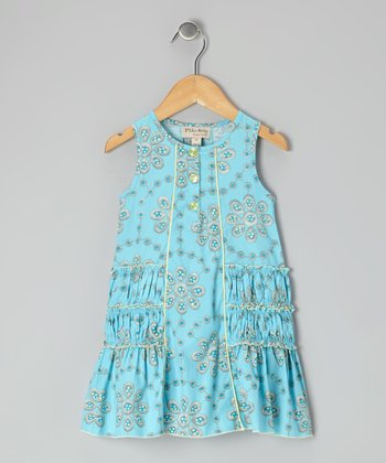 Turquoise Floral Imprint Dress - Infant & Toddler