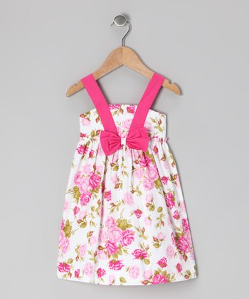 White & Pink Floral Bow Dress - Infant, Toddler & Girls
