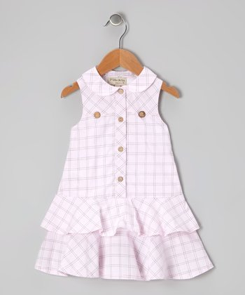 Pink Windowpane Plaid Ruffle Dress - Infant, Toddler & Girls