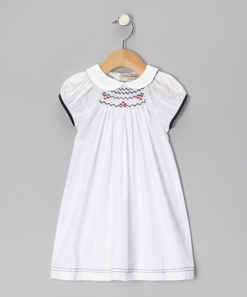 White & Navy Smocked Dress - Infant