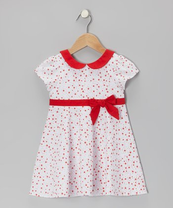 White & Red Star Floral Dress - Infant & Toddler
