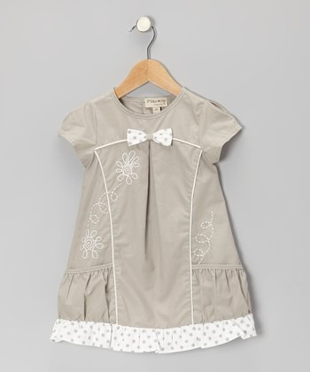 Gray Embroidered Floral Dress - Infant, Toddler & Girls
