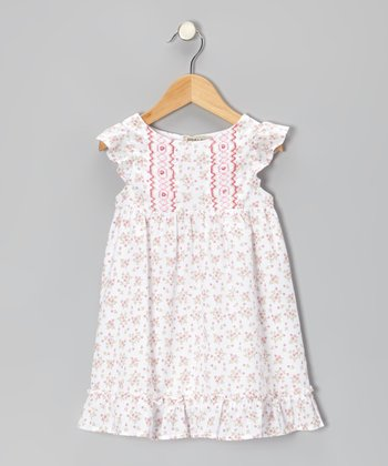 Off-White & Pink Floral Smocked Dress - Infant & Toddler