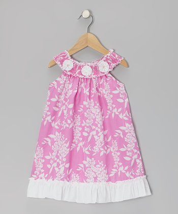 Hot Pink & White Shirred Yoke Dress - Toddler