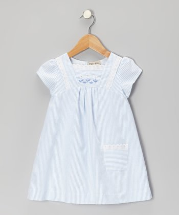 Blue & Off-White Stripe Dress - Infant & Toddler