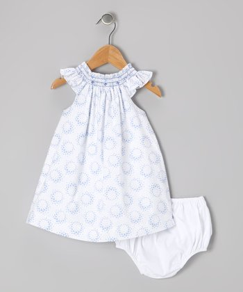 White & Blue Smocked Dress & Diaper Cover - Infant