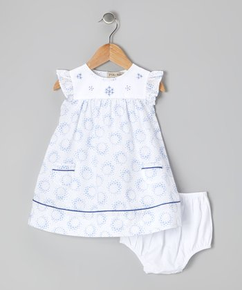 White & Blue Floral Dress & Diaper Cover - Infant