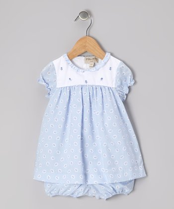 Blue & White Floral Dress & Diaper Cover - Infant
