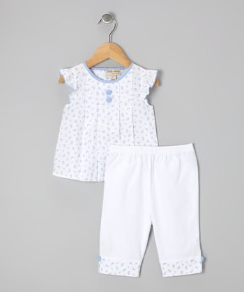 White & Blue Floral Top & Pants - Infant & Toddler