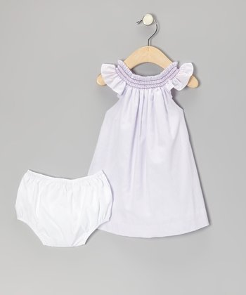 Purple Gingham Shirred Yoke Dress & White Diaper Cover - Infant