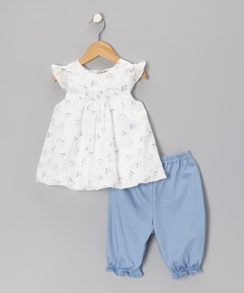 Off-White Angel-Sleeve Top & Blue Capri Pants - Infant & Toddler