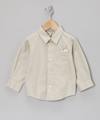 Light Brown Bear Button-Up - Infant, Toddler & Boys