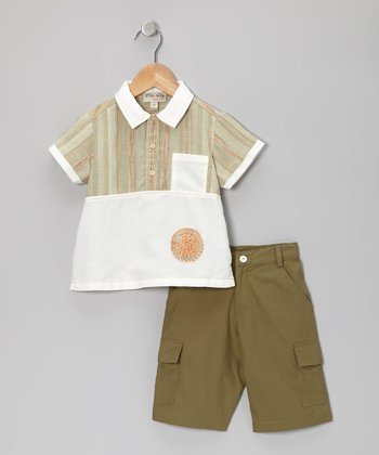 Off-White Embroidered Panel Top & Green Shorts - Toddler & Boys