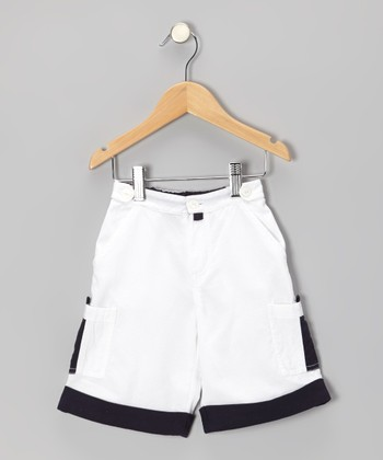 White & Navy Cargo Shorts - Infant & Toddler