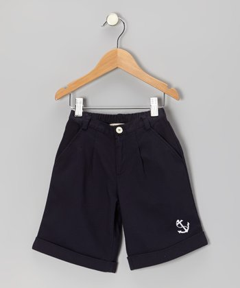 Navy Anchor Shorts - Infant & Toddler