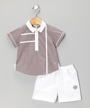 Brown Plaid Embroidered Polo & White Embroidered Shorts - Infant