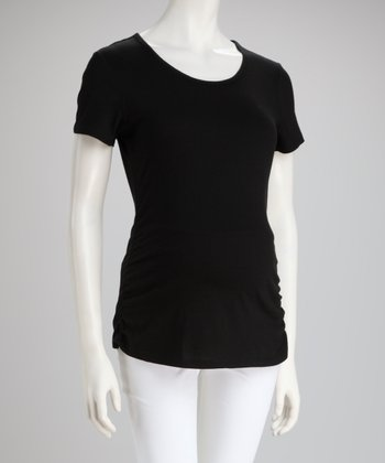 Black Ruched Maternity Tee - Women