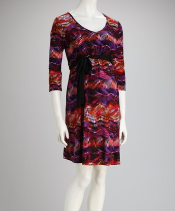 Red & Orange Tie-Waist Maternity Dress - Plus