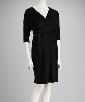 Black Maternity Dolman Surplice Dress - Women
