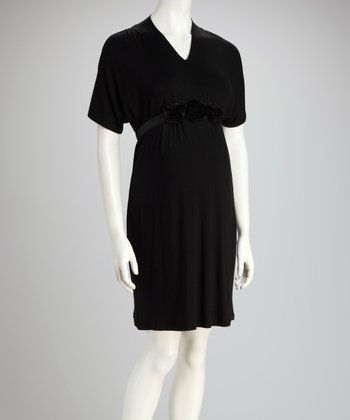 Black Embellished Maternity V-Neck Dress - Women & Plus