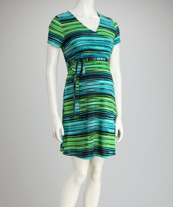 Blue & Green Stripe Maternity Surplice Dress - Women